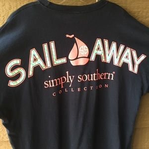 Ladies Simply Southern navy Sail Away Large shirt
